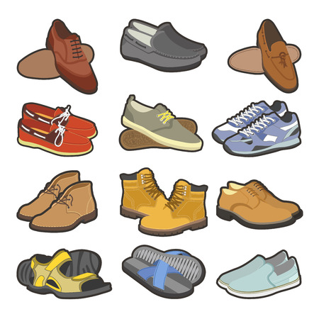 moccasin: Men shoes boots types vector flat isolated icons set
