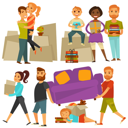 Home move people moving from house vector flat icons set Illustration