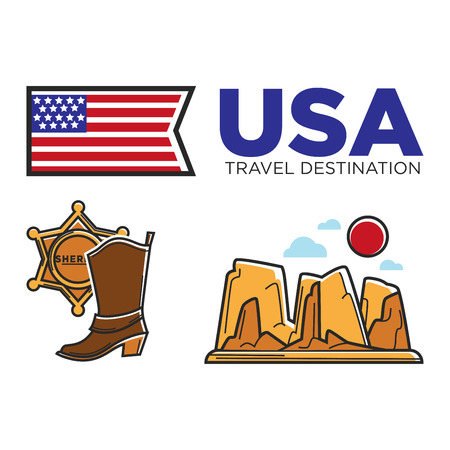 USA America culture and Amercian travel toursit attraction landmarks vector icons set Illustration