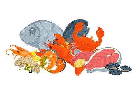 Tasty fresh uncooked exotic seafood in big heap, cartoon illustration
