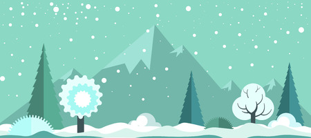 Cold winter panoramic spectacular landscape with light snowfall Illustration