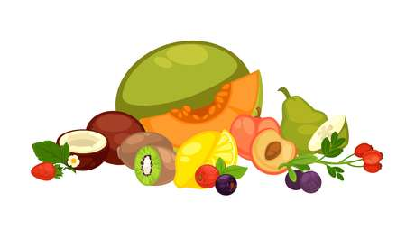 dietary: Exotic tropical fruits and forest berries isolated illustration Illustration