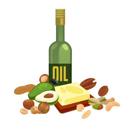 Oily products with high calorie content isolated illustration designed for nutrition celebration Illustration
