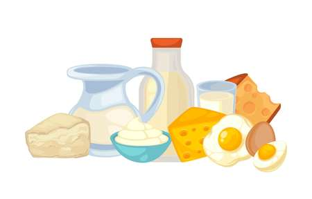 Fresh milk in transparent decanter, bottle with tight cover and big glass, fried and whole eggs, fat sour cream and hard and soft sorts of cheese isolated vector illustration on white background.