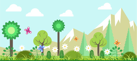 Spring panoramic landscape with blooming trees, fragrant flowers, colorful butterflies that fly around, green bushes, fresh grass, tall spruces and rocky mountains on horizon vector illustration.