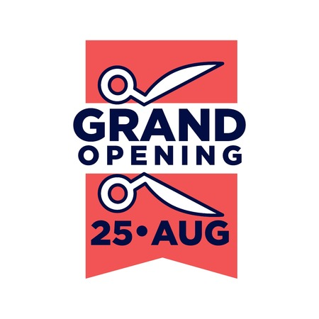 piece: Grand opening on 25 August promotional emblem with two pieces of red ribbon and scissors isolated flat vector illustration on white background. Grandiose ceremony logotype for advertisement.