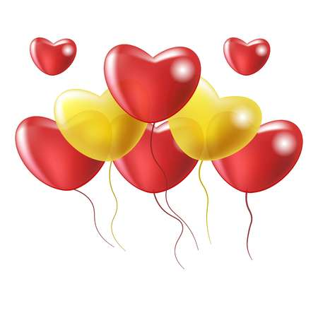 Glossy gel balloons in heart-shape of red and yellow color fly in air in big heap isolated vector illustration on white background. Great decoration for romantic surprise or valentines day party.