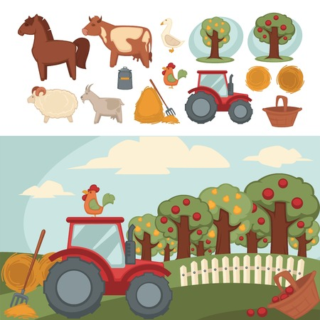Ranch with fruit garden, red tractor on field. Illustration