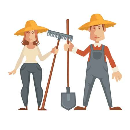 Farmers in straw hats, special clothes, with big spade and convenient rake. Man in red sweater and overalls and woman in shirt and jeans.