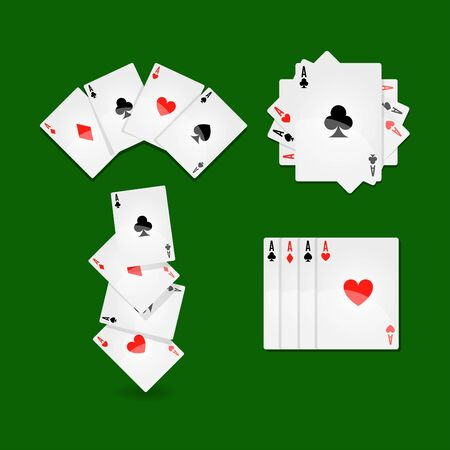 stakes: Aces set that lays in form of fan, in neat row and in mess on green play field at casino. Winning combination in card game with big stakes. Equipment for gambling isolated vector illustration.