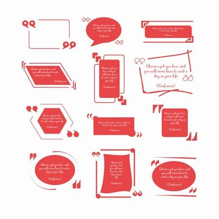 Konfucjusz cytatów w czerwone ramki okrągłe i kwadratowe kształty geometryczne z odwróconymi przecinkami w różnych czcionkach pojedyncze płaskie ilustracje wektorowe ustawione na białym tle. Oryginalny projekt cytatów. Ilustracje wektorowe