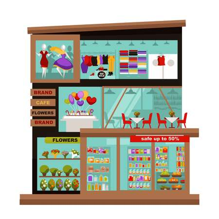 clothing store: Three-story mall with cozy cafe that serves delicious food, small flowers market, big food department and fashion boutiques with modern clothes isolated vector illustration on white background,