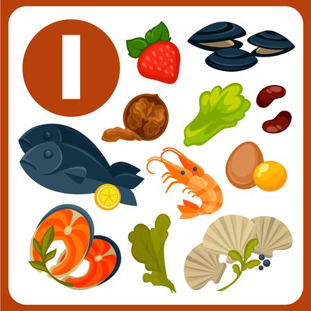 Produkte mit hohem Jodgehalt Vektor Illustrationen. Leckere Austern, roter Fisch, Königsgarnelen, Eigelb, frischer Seetang, nahrhafte Walnüsse, süße Erdbeeren, Salatblätter und gesunde Bohnen. Vektorgrafik