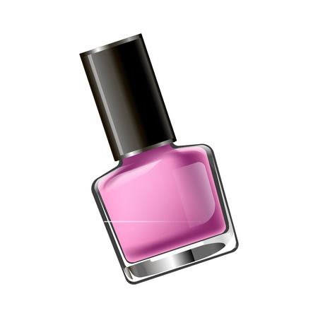 A Vector illustration of small flask with pink nail polish isolated on white.