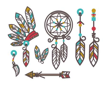 Authentic indian culture objects set. Unusual hat made of feathers, big wicker dreamcatcher, special amulets and wooden arrow isolated colorful flat vector illustration on white background.
