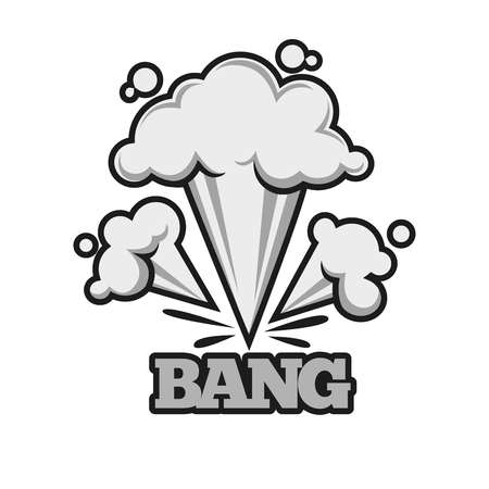 Bang effect with clouds of dust monochrome illustration