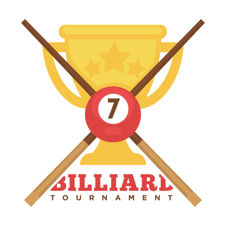 Billiard tournament emblem with crossed cues and gold cup