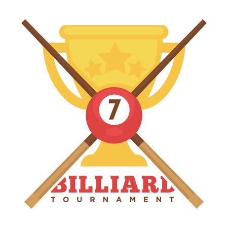 Emblème de tournoi de billard avec des queues croisées et une coupe d'or