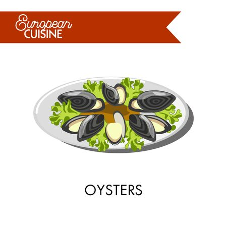 mediterranean diet: Extotic oysters with open shells and salad leaves from European cuisine. Fresh seafood with lemon juice and lettuce vector illustration on white background. Unusual dish simple in preparation. Illustration