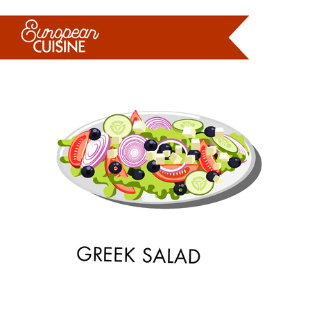 starter: Fresh Greek salad from european cuisine vector illustration. Dish that consists of ripe tomatoes, tasty cucumbers, sweet onions, Bulgarian pepper, cheese Feta, black olives, and lettuce leaves.