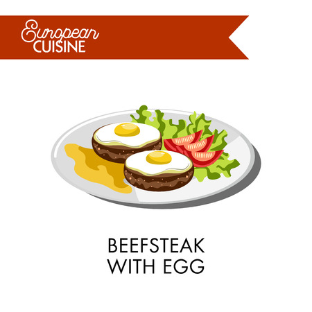 fried: Beefsteak with fried egg on top, tomatoes laid on salad leaf and mustard sauce from European cuisine. Round meat cutlet made of beef with fresh vegetables vector illustration on white background.