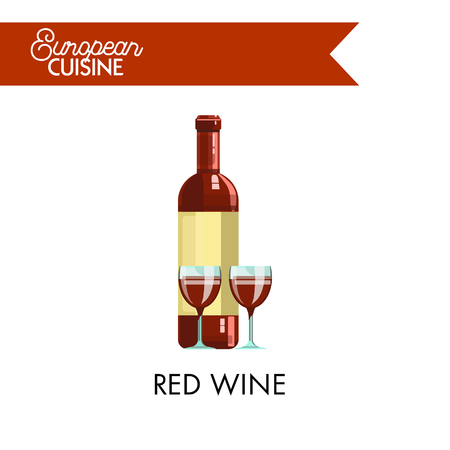 Red wine in glossy bottle and glasses from European cuisine. Tasty refined drink made of organic grapes kept for several years for better quaity isolated vector illustration on white background. Illustration