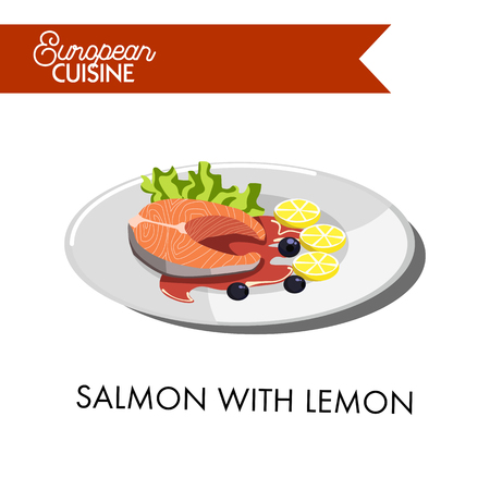fried: Salmon with fresh lemon slices, black olives, delicious red sauce and green salad leaf from European cuisine. Baked tasty fish on plate isolated cartoon vector illustration on white background. Illustration