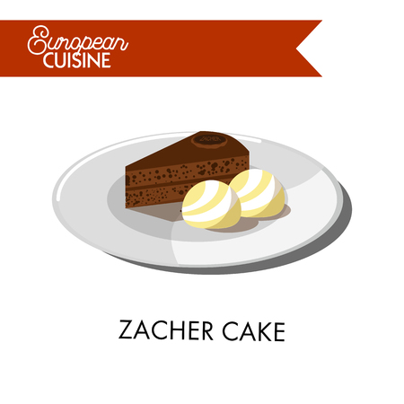 Delicious chocolate zacher with ice cream balls from European cuisine. Typical Viennese dessert and one of most popular sweet cakes in the world isolated vector illustration on white background.