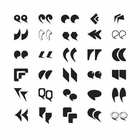 다양 한 글꼴 흑백에서 인용 부호 플랫 벡터 일러스트를 설정합니다. 작은 문장 또는 전체 문구를 강조하기위한 기호. 많은 모양과 디자인의 쉼표가 거 일러스트