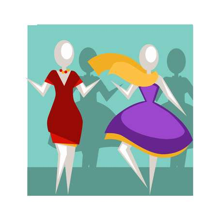 Faceless white mannequins in short red and big purple dresses with neat beads and flying yellow chiffon scarf inside blue shop window vector illustration. Decorative part of fashion boutique interior.