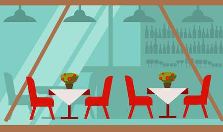 Cozy summer terrace of cafe with delicious food vector illustration. Red chairs beside tables covered with tablecloth and pot with flowers on top. Bar with alcohol that seen through long glass wall. Illustration