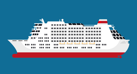 Big spacious white cruise liner for thousands of passengers isolated flat cartoon vector illustration on blue background. Fast and save water transport for long comfortable voyages around world.