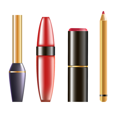 gloss: Makeup cosmetics in glossy bottles isolated illustration set
