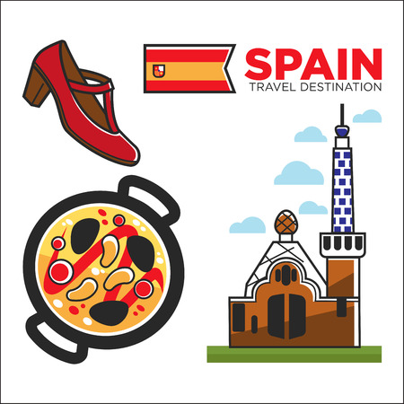 chili sauce: Spain travel destination promotional banner with customs illustration