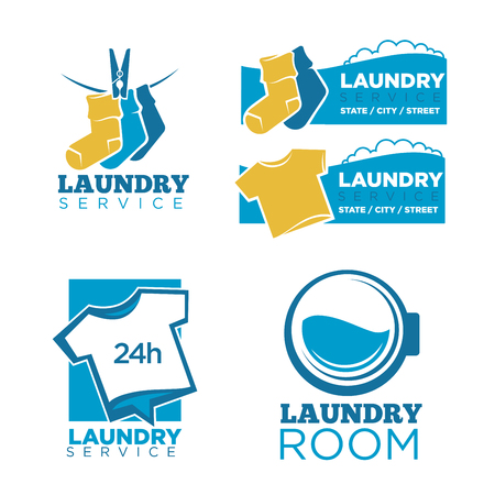 24h laundry room service isolated promotional emblems set