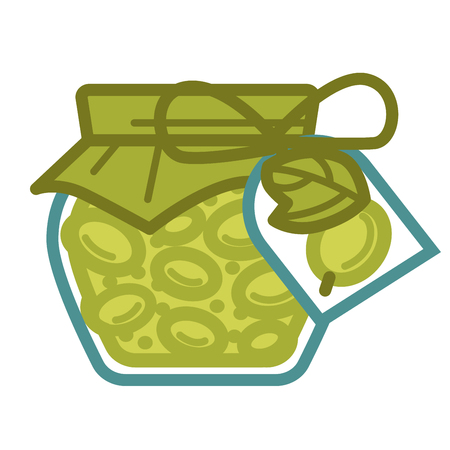 expiration date: Jar of canned olives with pepper cover attached with bow of rope and pepper tag with plant image isolated cartoon vector illustration on white background. Delicious food with long expiration date.