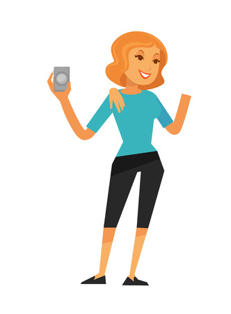 A Smiling woman with blonde hair in casual clothes holding camera isolated on white vector colorful illustration in graphic design. Full length portrait of posing female person with digital device illustration. Illustration
