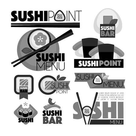Sushi-Punkt-Bar-Menü monochrome Satz von Emblemen. Köstliche Brötchen mit frischem Fisch, hölzernen Stäbchen und großen dicken Zeichen auf Werbe-Logos isoliert Vektor-Illustration auf weißem Hintergrund. Standard-Bild - 82515924