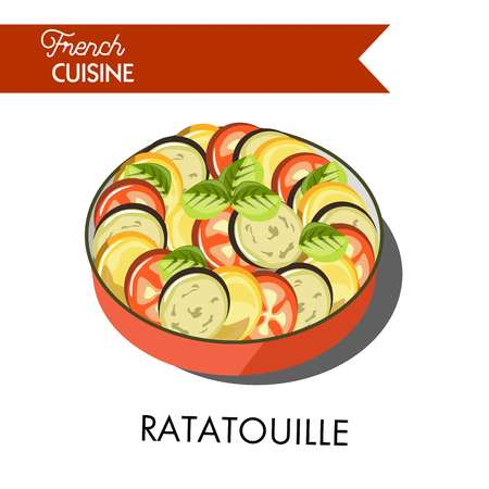 Delicious ratatouille meal from french cuisine isolated illustration.