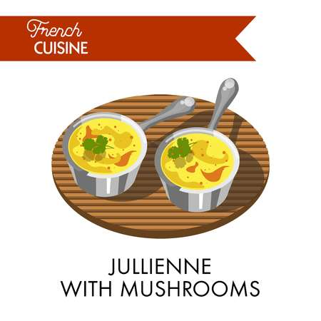 Jullienne with mushrooms meal from delicate french cuisine