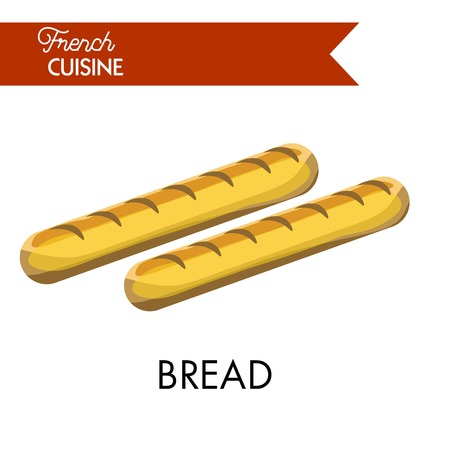 Tasty long bread from French cuisine isolated illustration Illustration
