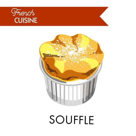 Tender souffle from french cuisine sprinkled with powder Ilustrace