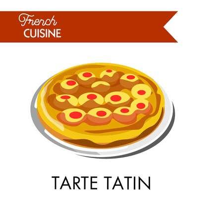 Fruity tarte tatin from french cuisine isolated illustration