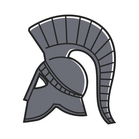 Ancient Greek solid metal gladiators helmet isolated illustration Illustration
