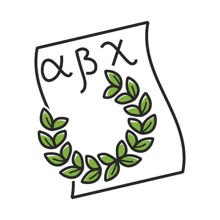 Paper with Greek alphabet and green laurel wreath