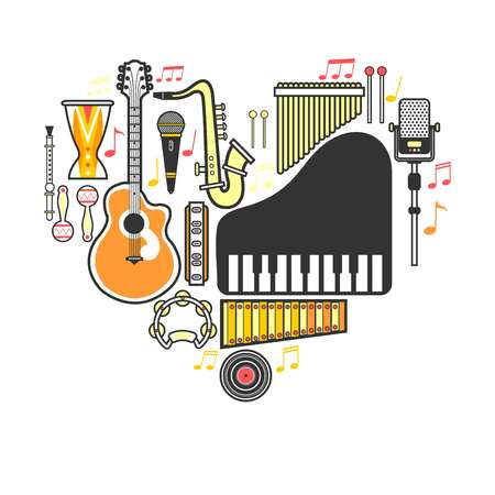 Music instrumets guitar, piano or musical drum vector flat icons