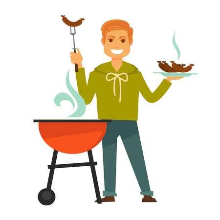 Redhead Mann in Sweatshirt und Jeans steht in der Nähe Grill mit Dampf und hält heiße Barbecue Wurst auf Platte und spezielle Gabel isoliert Vektor-Illustration auf weißem Hintergrund. Männlicher Charakter kocht Essen.
