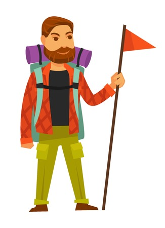 man: Bearded man in warm clothes for long hike with big rucksack, purple sleeping bag and red flag on long wooden stick isolated vector illustration on white background. Hiker with necessary equipment. Illustration