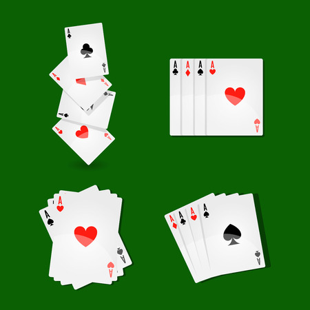 Vector illustration of aces card placed differently on green table.