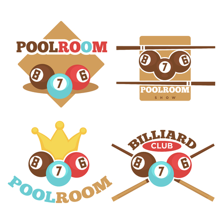 luxury room: Set of vector illustrations of billiard and pool room logos. Illustration